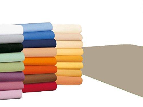 badtex24 Spannbettlaken 90 100 x 200 Spannbetttuch Bettlaken Jersey 100% Baumwolle 20 Farben Beige 90x190-100x200cm