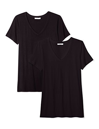 5 Womens V-neck T-shirt (Daily Ritual Women's Standard Jersey Short-Sleeve V-Neck T-Shirt, 2-Pack, Black/Black, XS)