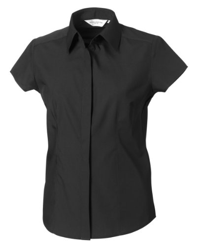 Russell Collection Easy Care Fitted Poplin Bluse, kurzarm (3XL) (Schwarz) (Popeline Kurzarm-arbeitshemd)