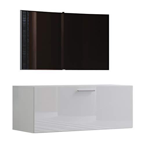 """VCM TV Wand Board Schrank Tisch Fernseh Lowboard Wohnwand Regal Wandschrank Hängend Weiß 40 x 95 x 36 cm \""""Fernso\"""""""