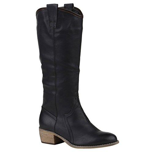 Gefütterte Damen Stiefel Reiterstiefel Langschaft Boots Schuhe 150290 Schwarz Bernice 38 | (Stiefel Country Western)