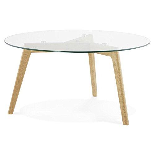 M.K.F. Table Basse Style scandinave Tarot en Verre et chêne Massif