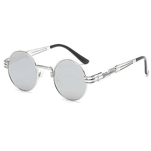 CVOO Vintage Gothic Steam Punk Sunglasses Men Coating Mirrored Women Retro Round Circle Sun Glasses Retro For Male Steam Punk UV400