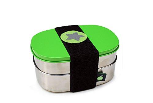do dotty Doppel BOX schadstofffreie Edelstahl Brotdose Doppeldose grün (16,5x12x7,5) eine Dose mit und eine ohne Trennsteg + Klettmotiv zum individualisieren für Kindergarten und Schule