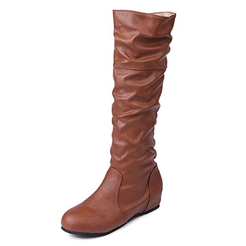 Woman's Knee High Boots, Flat Heel Nubuck Motorcycle Boot Autumn Winter Shoes, Fashion, Feminine Charm Boots Women Fashion Wedge Heel Pull On Mid Calf Boots Brown Size 5.5 ()