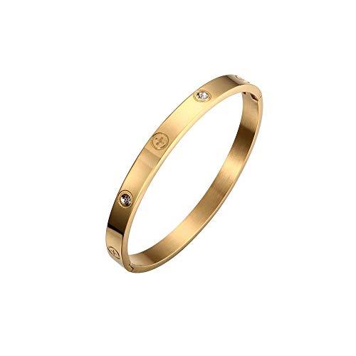 Armband aus Titanstahl mit Swarovski-Kristallen, Kreuz, goldfarben