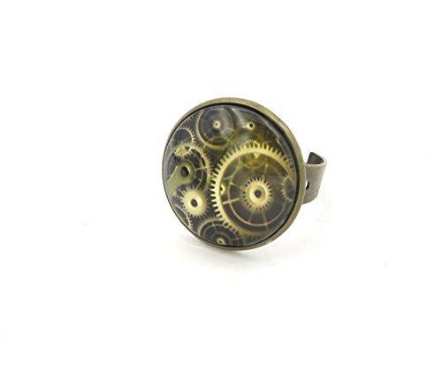 Zahnrad Ring Steampunk (Steampunk Zahnrad Cabochon Damen)