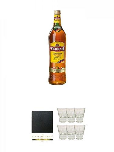 Wilthener Goldkrone Weinbrand 1,0 Liter + Schiefer Glasuntersetzer eckig ca. 9,5 cm Durchmesser +...