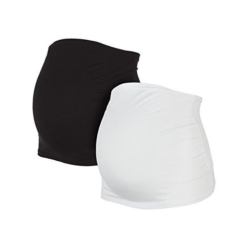Herzmutter Bauchband für Schwangere im Doppelpack-Set, Umstands-Schwangerschafts-Bauchbänder aus Baumwoll-Mix, Schwarz-Grau-Blau-Rot-Weiß-Gestreift (6000) (XL, Schwarz/Weiß)