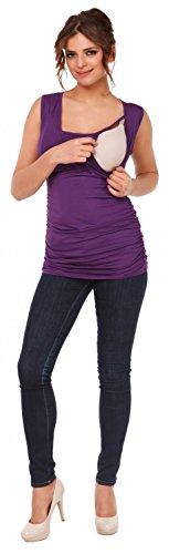 Happy Mama Femme. Top de maternité. T-shirt d'allaitement effet cache-coeur. 371p Pourpre