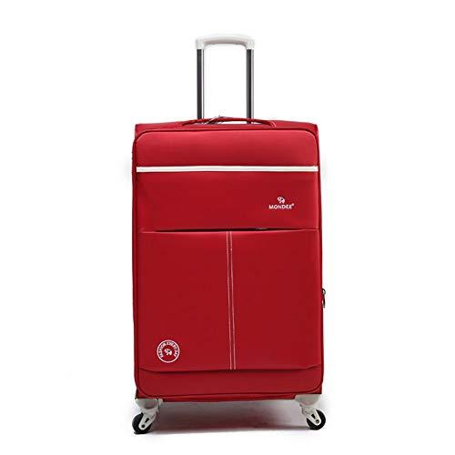 GUOQP Oxford-Stoff Superleichter 4-Rad-Spinner zum Einchecken Gepäckkoffer Reisetasche (Schwarz/Blau)-red-20 -