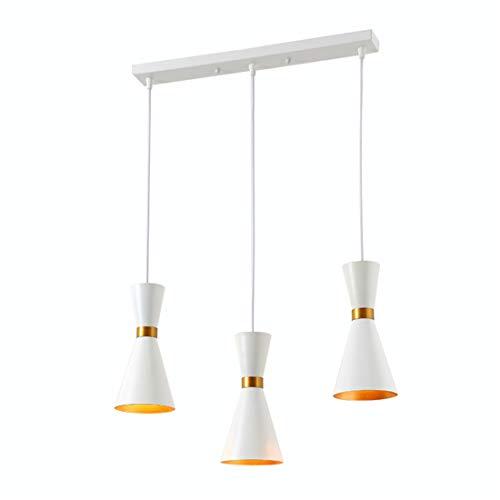 Zceillamp Simple Style Hängende Lampen European Chandelier Pendant Lights Iron Shade E27 Bulb Gold Inner-Cafe Bar Loft Bedroom Dining Room Lighting Decoration Lamp,White,L -