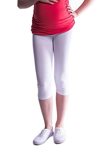 Mija - Oasi - Gute Qualität Umstandsleggings für Schwangere Capri 3/4 Leggings / Hose 3082 (XXL, Weiß)
