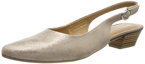Tamaris Damen 1-1-29400-22 Slingback Pumps, Weiß (Champagne MET. 192), 40 EU - Suede Slingback Schuhe