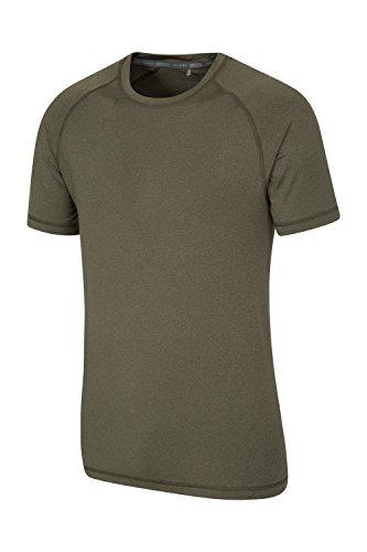 Mountain Warehouse Agra Herren Melange Top T-Shirt Oberteil Leicht Schnell trocknend IsoCool Base Layer Laufen Joggen Radfahren Khaki
