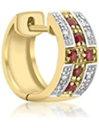 09a605c26 Genuine 9ct Yellow Gold Gents Diamond and Ruby Huggy Earring