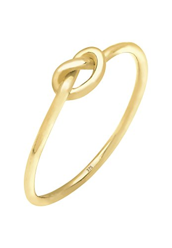 Elli Premium Damen Ring mit Knoten Trendsymbol Filigran Blogger Stacking in 375 Gelbgold