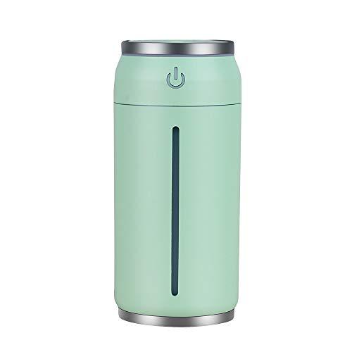 WEKNOWU Mini Humidificador, Difusor de Niebla Portátil USB con Luz de Noche de 7 Colores para Auto de Oficina (Verde)