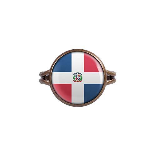 Mylery Ring mit Motiv Dominikanische Republik Dominican Republic Santo Domingo Flagge bronze 14mm -