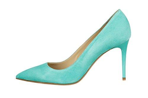 Gianrico Mori, Gracie, Decoltè scarpe donna in vera pelle scamosciata Acqua di Mare