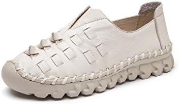 NVXIE Señoras Mujer Nuevo Pisos Zapatos Únicos Ocio Moda Bajo Tacón Ronda Cabeza Piel Genuina Antideslizante Respirable...
