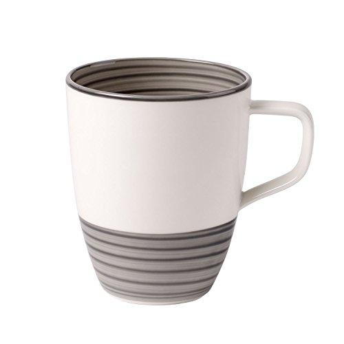 Villeroy & Boch Manufacture Gris Kaffeebecher, 380 ml, Premium Porzellan, Grau