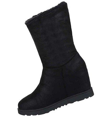 Damen Stiefeletten Schuhe Warm Gefütterte Keil Boots Schwarz Schwarz