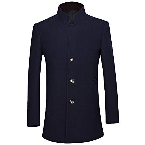 Yvelands Herren Wolle Trenchcoat Mantel Männer Casual Wolle Trenchcoat Fashion Business Lange verdicken schlanke Manteljacke