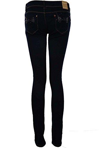 SAPHIR Damen Hell Acid Wash Enganliegend Damen Hoher Bund Jeans UK 6-14 dunkel Jeans (mit Nieten besetzt Schleife)
