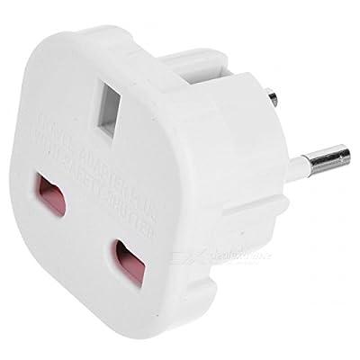 TEC UK - Travel Adapter - UK to EU Euro European adapter White Plug 2 Pin - Pack of 5