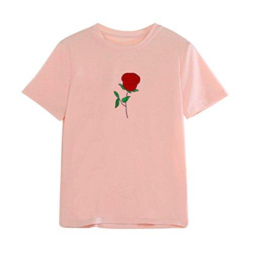 BZLine - T-Shirt été à Fleur Rose Applique en Coton - à Manches courtes - Femme pink