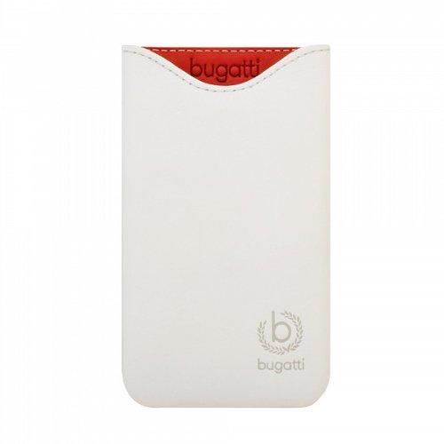 bugatti Echtledertasche für Apple iPhone SE / 5S / 5C / 5 - schwarz [Größe: ML | Handarbeit | Einfache Entnahme | Gürtelschlaufe | Magnetverschluss] - 08081 Weiß