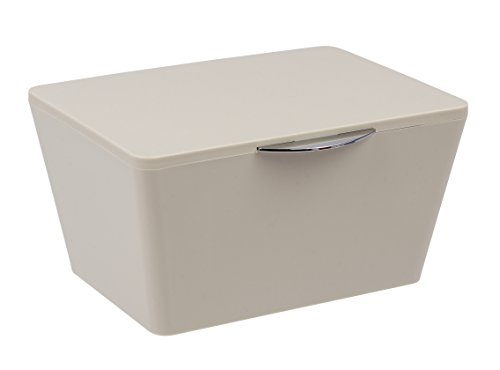 Wenko 22598100 Aufbewahrungsbox mit Deckel Brasil Aufbewahrungskorb, Badkorb mit Deckel, 15,5cm x 19cm x 10cm, taupe