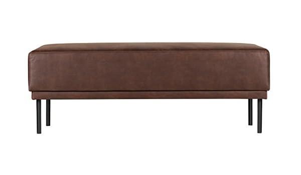 PEGANE Banc en Polyester et Cuir, Couleur Chocolat Dim : H