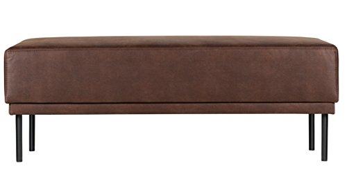 PEGANE Banc en Polyester et Cuir, Couleur Chocolat - Dim : H 41 x L 126 x P 60 cm