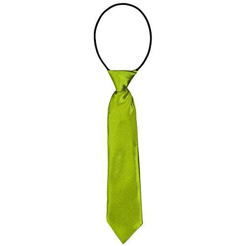 DonDon® Kinder Krawatte im Seidenlook glänzend – 7,0 cm breit – mit elastischem Gummiband - hellgrün