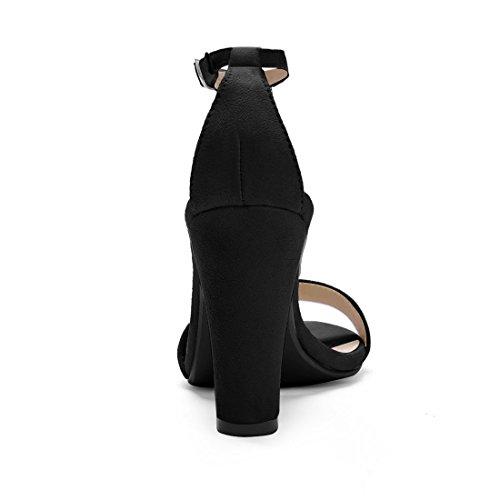 Allegra K Donnepunta Ouvert Sandales À Talons Hauts T-strap Dress Ci Black 9 Noir