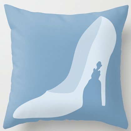 ziHeadwear Unique Style Cinderella Story Crystal Shoes Princess Throw Pillowcase Zippered Twin Sides Printing Pillow Cover 18x18 inch