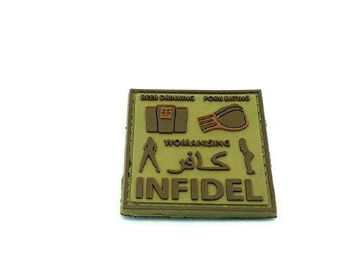 Patch Nation Beer Drinking Womanising Pork Eating Infidel Airsoft Klett Emblem Abzeichen Hellbraun (Eating Pork Crusader Patch)