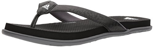 adidas Women\'s Comfort B Flip Flop Sport Sandal, Core Black,White, Grey Four Fabric, 11 M US