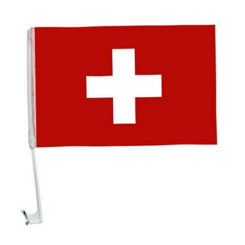 2 x Autofahne Autoflagge 45 x 30 Schweiz Auto Fahne Fahnen Flagge Flaggen EM 2016 mit Halterung