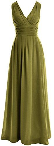 MACloth Women V neck Chiffon Long Bridesmaid Dress Wedding Party Formal Gown Olive Green