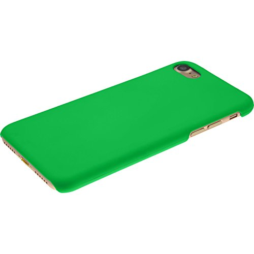 PhoneNatic Case für Apple iPhone 7 Hülle rot gummiert Hard-case für iPhone 7 + 2 Schutzfolien Grün