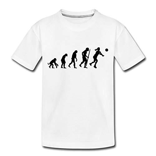 Evolution Volleyball Spielerin Teenager Premium T-Shirt, 158/164 (12 Jahre), Weiß