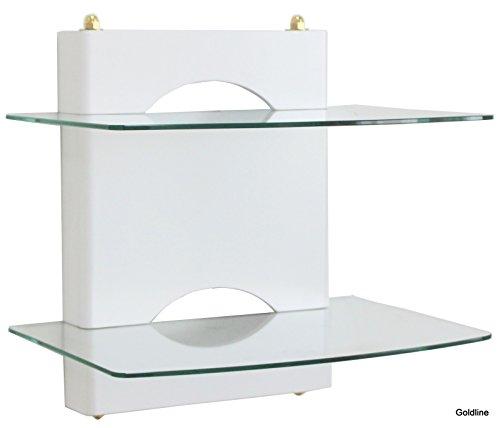 Goldline Weiß Sky Box Wandhalterung, DVD Wandhalterung. DVD Wandhalterung mit Hochglanz weiß lackiert auf Holz und 2x Schwimmende Glas-Einlegeböden (Lackiert Glas Wand)