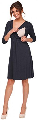 Happy Mama. Femme Robe patineuse maternité d'allaitement. Manches 3/4. 787p Bleu Gris