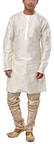 Manyavar Men's Mid-Thigh Cotton Kurta (8903035100351_MK50103-340-S_Off-White)