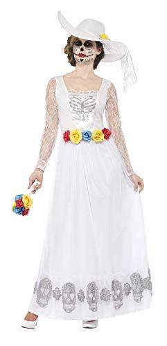 Smiffys 44657S - Damen Tag der Toten Skelett Braut Kostüm, Größe: 36-38, weiß