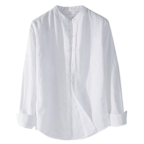 T.boys Herren Leinenhemd Langarm Freizeithemd Männer Sommer Hemd Leichte Atmungsaktives Bequem Leinen Casual Regular Fit Oberteile -