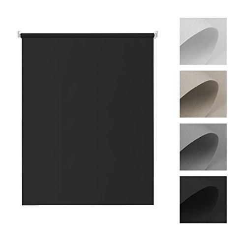 Tenda oscurante a rullo avvolgibile - 45 x 170 cm (larghezza x altezza), nero - senza viti per finestra con morsetto laterale, termica e isolante